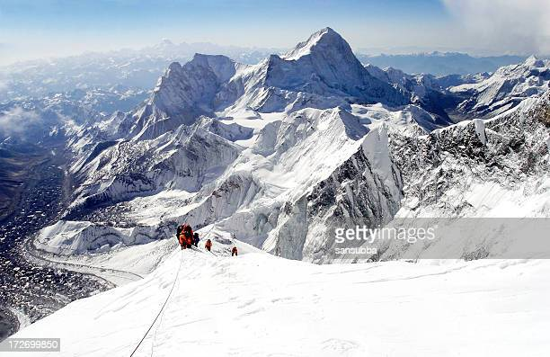 climbing everest - mountain peak stock pictures, royalty-free photos & images
