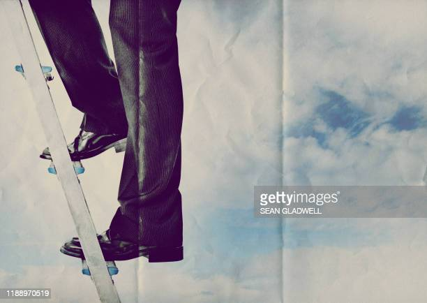 climbing ladder to success - manager stock pictures, royalty-free photos & images