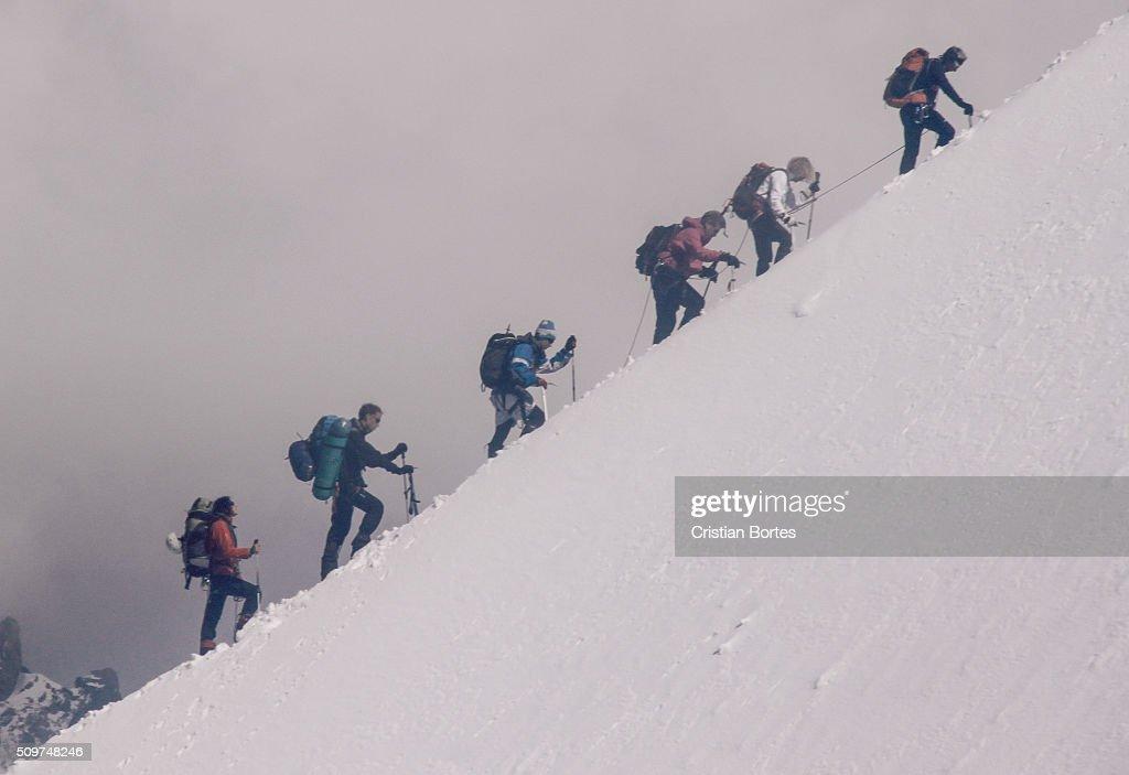 Climbing Mont Blanc : Stock Photo