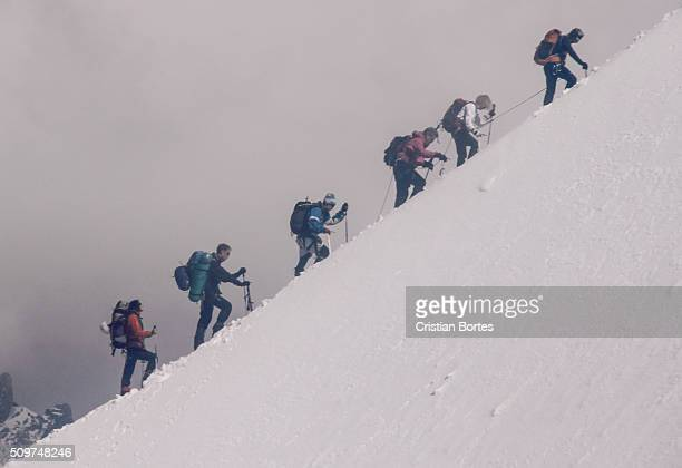 climbing mont blanc - bortes stock photos and pictures