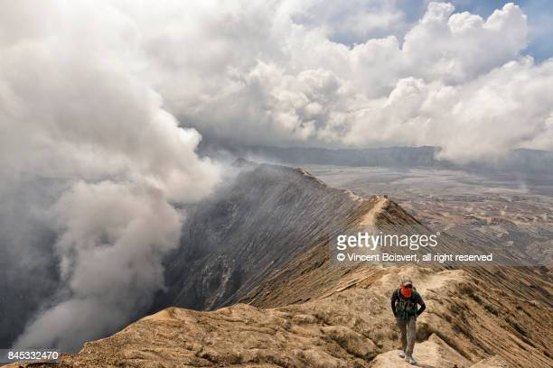 climbing mount bromo, java, indonesia - bromo crater stock pictures, royalty-free photos & images