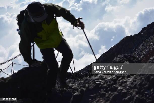 Climbing Mt Fuji during daytime