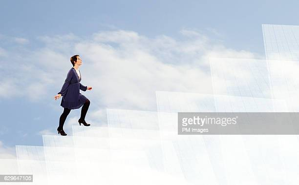 Climbing steps in the clouds