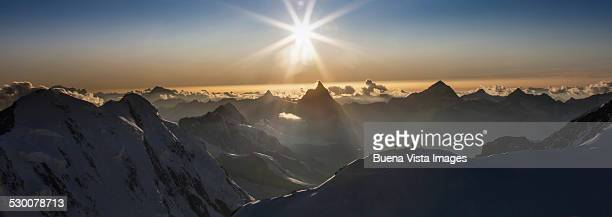 Climbing team on a snowy mountain ridge