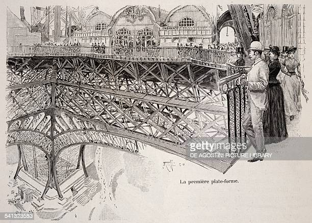 Climbing the Eiffel Tower the first platform July 1889 Universal Exhibition in Paris France 19th century