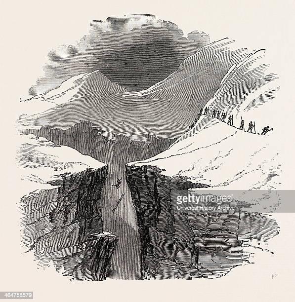 Accident Near The Glacier De Tacounag Alps French Alps France 1851 Engraving