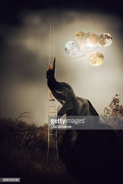 climbing the night - ladder to the moon stock pictures, royalty-free photos & images