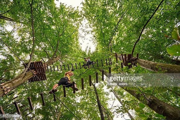 climbing the suspension bridge