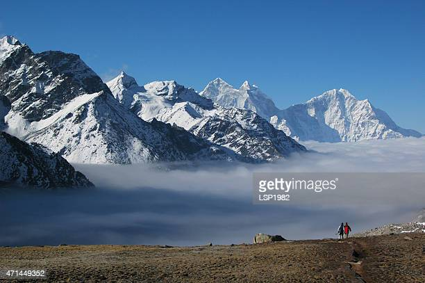 climbing to gokyo ri, everest region nepal himalaya - annapurna conservation area stock photos and pictures