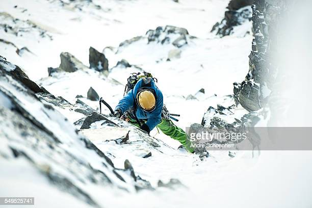 Climbing up an icy gully