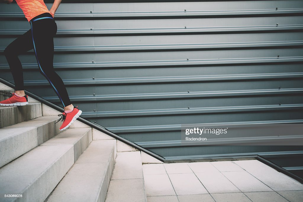 Climbing Up The Stairs : Stock Photo