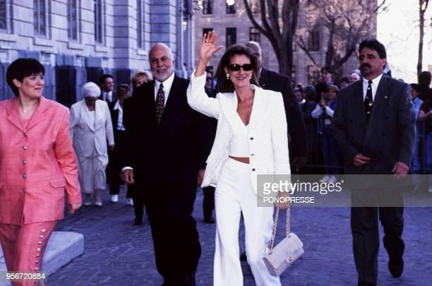 Céline Dion et son époux René Angélil le 1er mai 1998 à Québec Canada