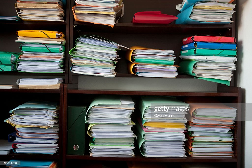 clinets' folders in a lawyer's office : Stock Photo