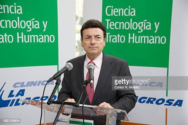 Clinic manager Gaspar Palet attends a press conference at La Milagrosa Hospital on March 5 2013 in Madrid Spain King Juan Carlos of Spain is...