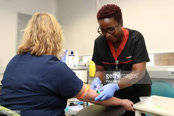 Clinical nurse Wendy Dickinson has a blood sample taken by a clinical staff member before receiving a BCG injection in the trial clinic at Sir...