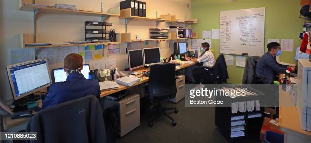 Clinical research coordinators LR Max Barbash Ally Reissis and Frank Ruzicka working in an office setting in Cambridge MA on April 23 2020 Ragon...