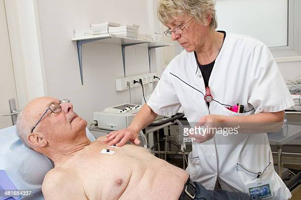 Clinical research in the GHICL Cardiology department at St Vincent de Paul hospital in Lille France ECG of a patient who has a pacemaker
