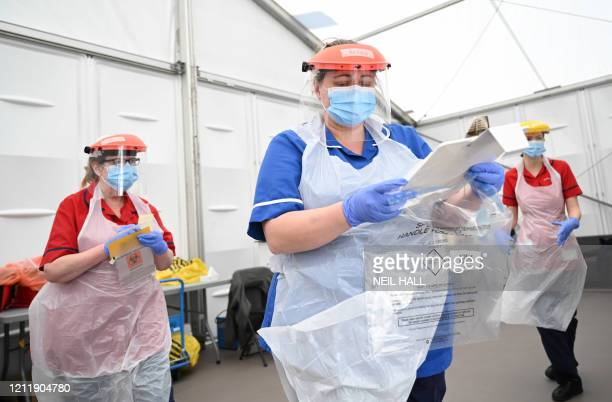 Clinical staff wear Personal Protective Equipment as they test key workers for the novel coronavirus at Royal Papworth Hospital in Cambridge on May...