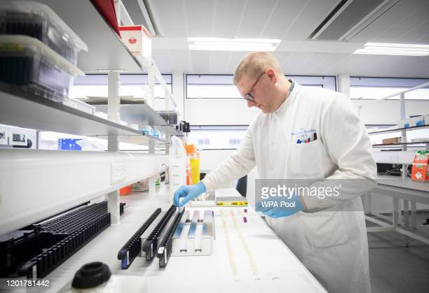 Clinical support technician Douglas Condie extracts viruses from swab samples so that the genetic structure of a virus can be analysed and identified...