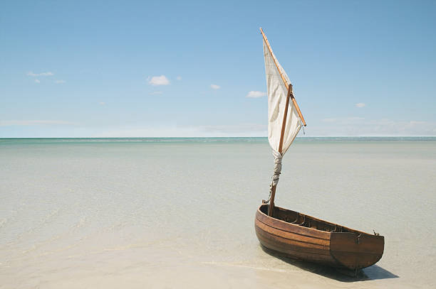 Clinker dinghy on beach