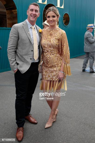 Clint and Hannah poses on Melbourne Cup Day at Flemington Racecourse on November 7 2017 in Melbourne Australia