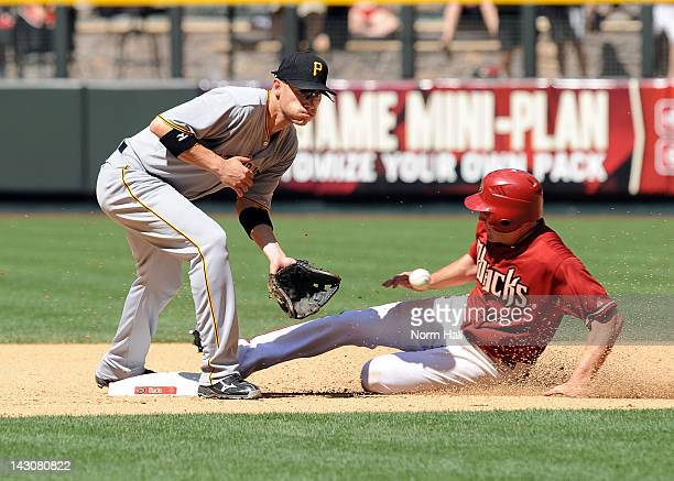 Clint Barmes of the Pittsburgh Pirates waits for the throw from home plate as AJ Pollock of the Arizona Diamondbacks slides into second base at Chase...