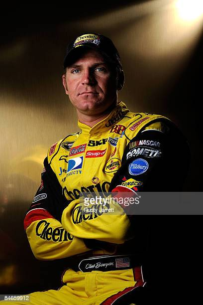 Clint Bowyer driver of the Cheerios/Hamburger Helper Chevrolet poses during NASCAR media day at Daytona International Speedway on February 5 2009 in...