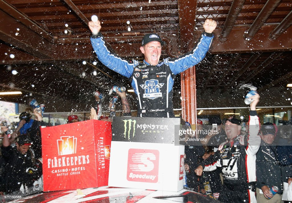 Clint Bowyer, driver of the #14 Haas 30 Years of the VF1 Ford, celebrates after winning the Monster Energy NASCAR Cup Series FireKeepers Casino 400 at Michigan International Speedway on June 10, 2018 in Brooklyn, Michigan.