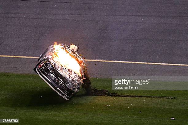 Clint Bowyer driver of the Jack Daniel's Chevrolet flips right side up after crashing on the last lap during the NASCAR Nextel Cup Series Daytona 500...