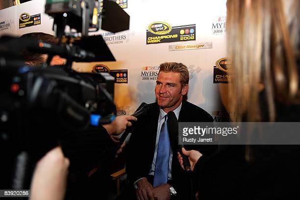 Clint Bowyer , driver of the Jack Daniel's Chevrolet, speaks to the media after NASCAR Champions Week NMPA Myers Brothers Media Luncheon at Cipriani...