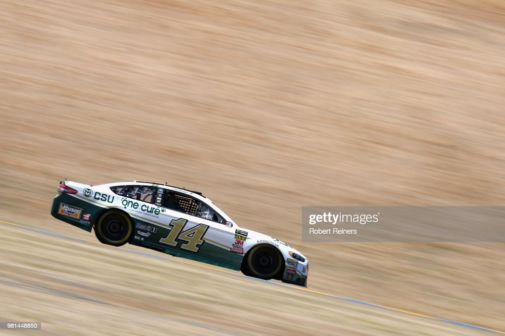 Clint Bowyer, driver of the #14 One Cure Ford, practices for the Monster Energy NASCAR Cup Series Toyota/Save Mart 350 at Sonoma Raceway on June 22, 2018 in Sonoma, California.