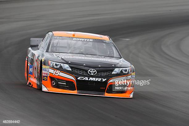 Clint Bowyer, driver of the RK Motors Charlotte Toyota, drives during practice for the NASCAR Sprint Cup Series Pocono 400 at Pocono Raceway on June...