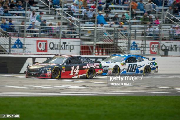Clint Bowyer StewartHas Racing Haas Automation Ford Fusion and Jeffrey Earnhardt VRX SIMULATORS Chevrolet Camaro during the Monster Energy NASCAR Cup...
