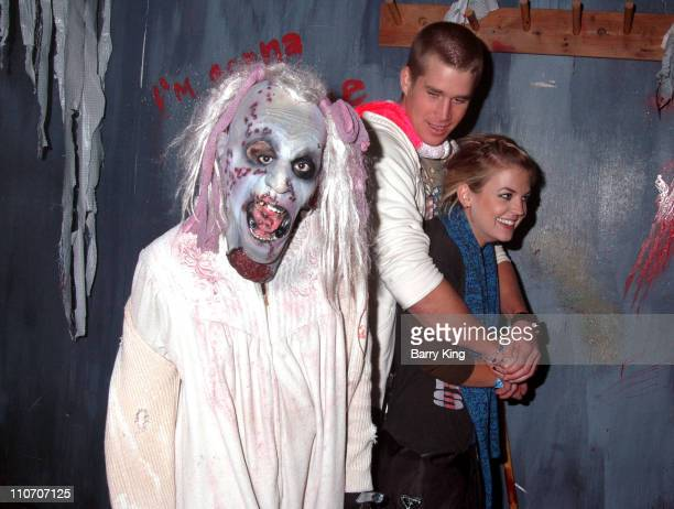 Clint Brink and Kirsten Storms in The Asylum Maze during Kristen Storms and Alexis Thorpe Visit Knott's Scary Farm's Halloween Haunt on Friday the...
