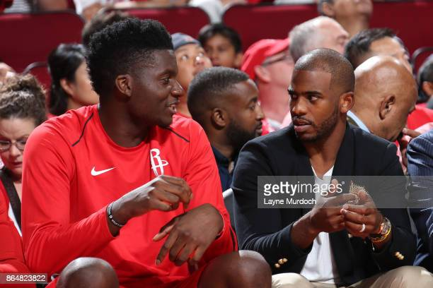 Clint Capela and Chris Paul of the Houston Rockets talk during the game against the Dallas Mavericks on October 21 2017 at the Toyota Center in...