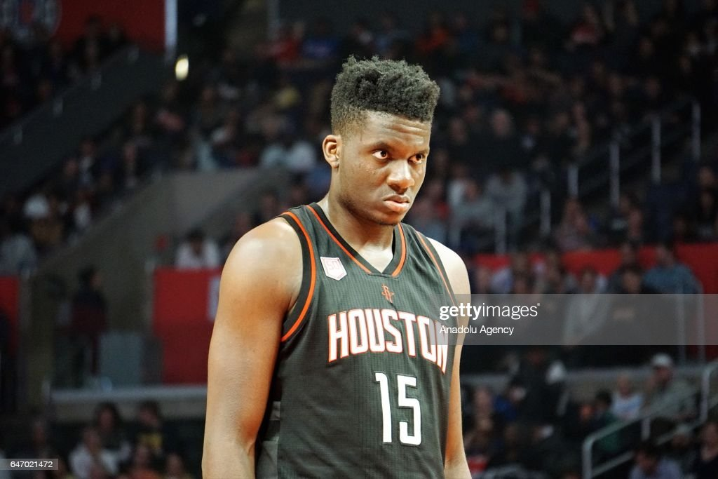 Clint Capela of Houston Rockets is seen during the NBA match between Los Angeles Clippers and Houston Rockets at Staples Center in Los Angeles, United States on March 2, 2017.