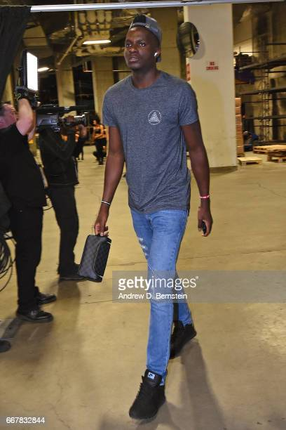Clint Capela of the Houston Rockets arrives at the arena before a game against the Golden State Warriors on March 31 2017 at ORACLE Arena in Oakland...