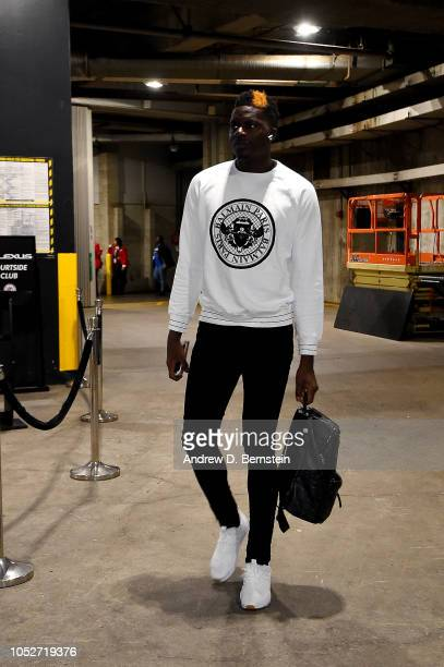 Clint Capela of the Houston Rockets arrives to the game against the LA Clippers on October 21 2018 at Staples Center in Los Angeles California NOTE...
