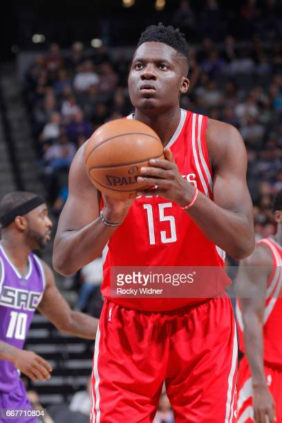 Clint Capela of the Houston Rockets attempts a freethrow shot against the Sacramento Kings on April 9 2017 at Golden 1 Center in Sacramento...