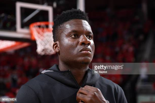 Clint Capela of the Houston Rockets before the game against the Golden State Warriors in Game Two of the Western Conference Finals of the 2018 NBA...