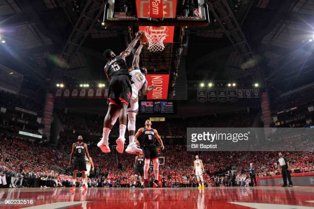Clint Capela of the Houston Rockets blocks the shot by Draymond Green of the Golden State Warriors in Game Five of the Western Conference Finals...