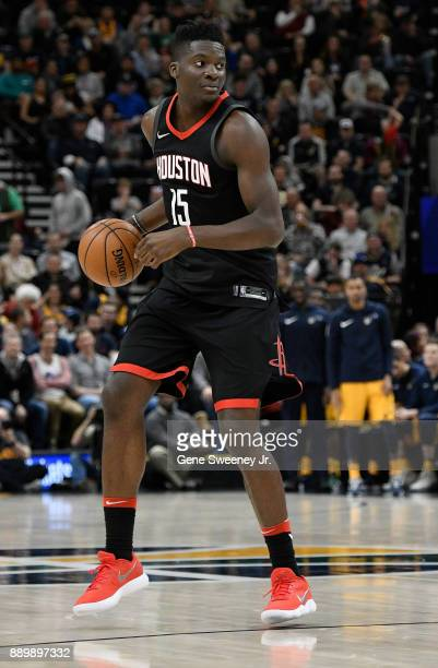 Clint Capela of the Houston Rockets controls the ball against the Utah Jazz during their game at Vivint Smart Home Arena on December 7 2017 in Salt...