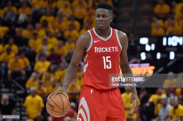 Clint Capela of the Houston Rockets controls the ball in the second half during Game Four of Round Two of the 2018 NBA Playoffs against the Utah Jazz...