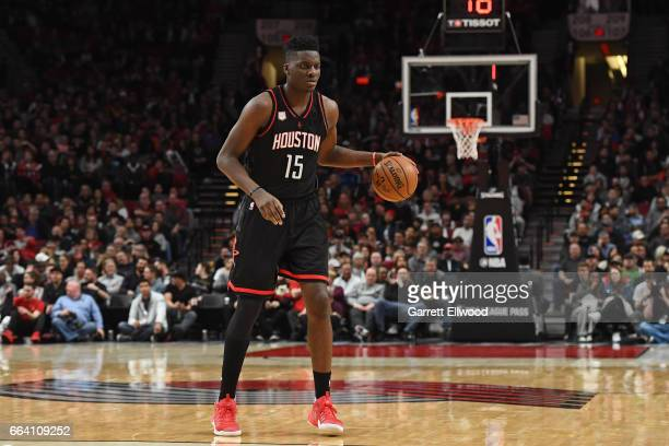 Clint Capela of the Houston Rockets dribbles the ball against the Portland Trail Blazers on March 30 2017 at the Moda Center in Portland Oregon NOTE...