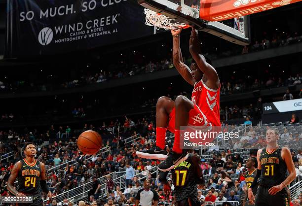 Clint Capela of the Houston Rockets dunks against the Atlanta Hawks at Philips Arena on November 3 2017 in Atlanta Georgia NOTE TO USER User...