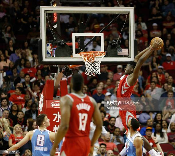 Clint Capela of the Houston Rockets dunks in the fourth quarter Sacramento Kings at Toyota Center on February 14 2018 in Houston Texas NOTE TO USER...