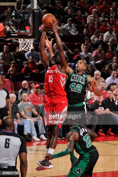 Clint Capela of the Houston Rockets dunks the ball against the Boston Celtics on March 3 2018 at the Toyota Center in Houston Texas NOTE TO USER User...