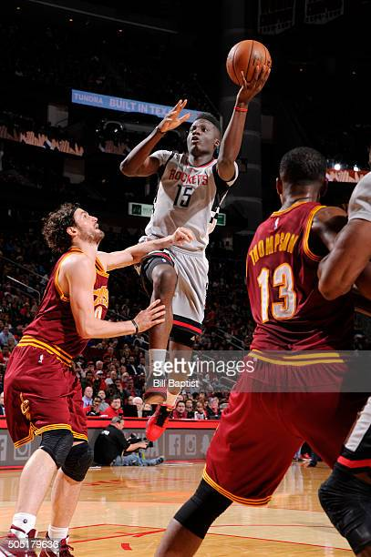 Clint Capela of the Houston Rockets goes for the layup against the Cleveland Cavaliers during the game on January 15 2016 at Toyota Center in Houston...