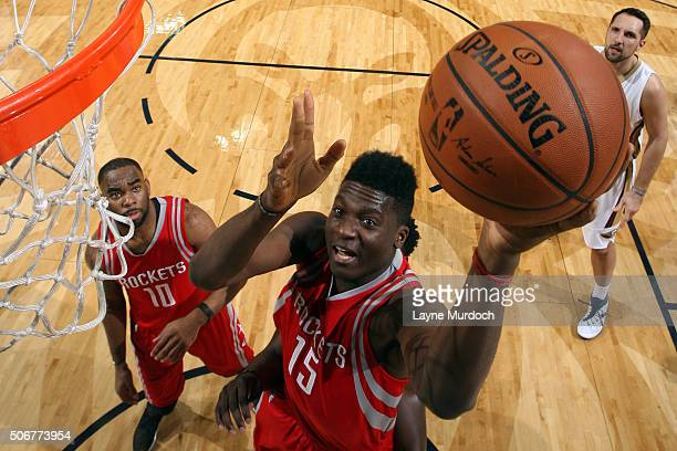 Clint Capela of the Houston Rockets goes to the basket against the New Orleans Pelicans on January 25 2016 at the Smoothie King Center in New Orleans...