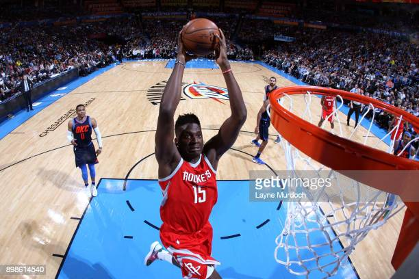 Clint Capela of the Houston Rockets goes to the basket against the Oklahoma City Thunder on December 25 2017 at Chesapeake Energy Arena in Oklahoma...